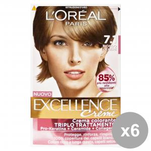 L'OREAL Set 6 Hair Dye Excellence Cream Hair Products N.7.1 Ash Blond