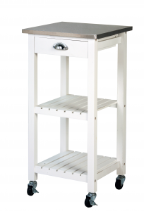 Archimede Kitchen Trolley in White and Inox wood Cm 40 X 40 X 85