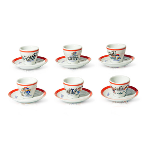 DERSUT Pack of 6 Coffee Cups In Porcelain 80 Cc Made in Italy