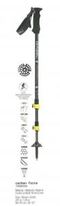 GABEL Adjustable Nordic walking poles CARBON FORCE FAST LOCK Yellow Black