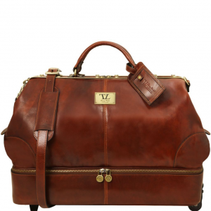 Tuscany Leather TL141451 Siviglia - Two wheeles double-bottom Gladstone leather bag Brown