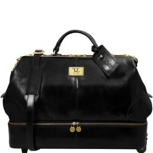 Tuscany Leather TL141451 Siviglia - Two wheeles double-bottom Gladstone leather bag Black