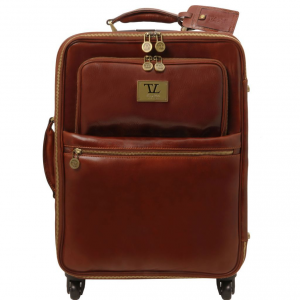 Tuscany Leather TL141390 TL Voyager - 4 Wheels vertical leather trolley Brown