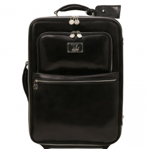 Tuscany Leather TL141389 TL Voyager - 2 Wheels vertical Leather trolley Black