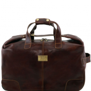 Tuscany Leather TL141537 Barbados - Trolley leather bag Dark Brown