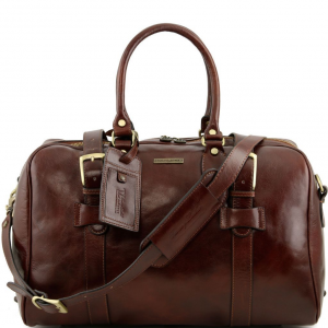 Tuscany Leather TL141249 TL Voyager - Borsa da viaggio in pelle con fibbie - Misura piccola Marrone