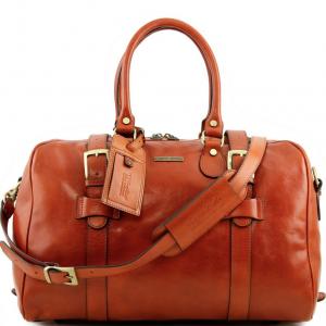 Tuscany Leather TL141249 TL Voyager - Borsa da viaggio in pelle con fibbie - Misura piccola Miele