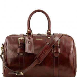 Tuscany Leather TL141248 TL Voyager - Borsa da viaggio in pelle con fibbie - Misura grande Marrone