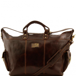 Tuscany Leather TL140938 Porto - Borsa da viaggio in pelle Testa di Moro