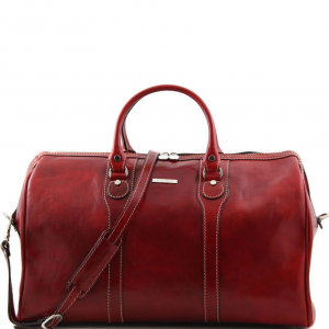Tuscany Leather TL1044 Oslo - Travel leather duffle bag - Weekender bag Red