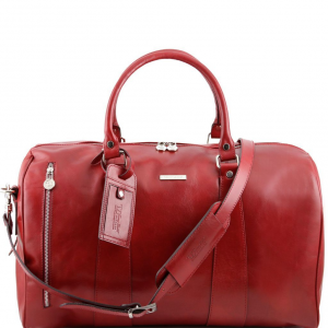Tuscany Leather TL141216 TL Voyager - Travel leather duffle bag - Small size Red