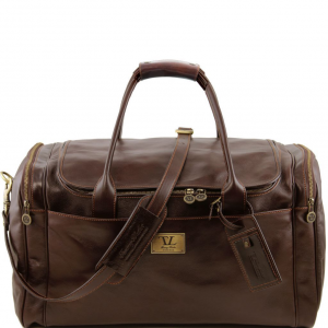 Tuscany Leather TL141281 TL Voyager - Travel leather bag with side pockets - Large size Dark Brown