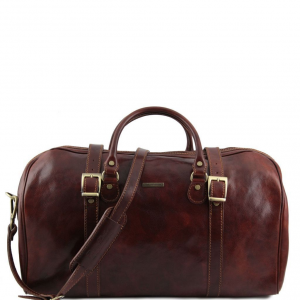 Tuscany Leather TL1013 Berlin - Travel leather duffle bag with front straps - Large size Brown