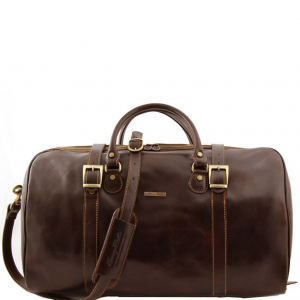 Tuscany Leather TL1013 Berlin - Travel leather duffle bag with front straps - Large size Dark Brown