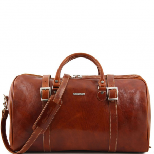 Tuscany Leather TL1013 Berlin - Travel leather duffle bag with front straps - Large size Honey