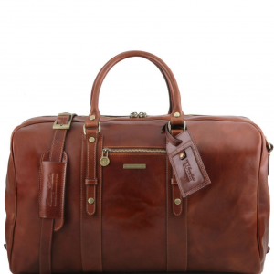 Tuscany Leather TL141401 TL Voyager - Leather travel bag with front pocket Brown