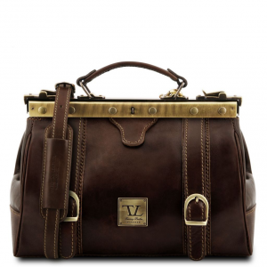 Tuscany Leather TL10034 Monalisa - Doctor gladstone leather bag with front straps Dark Brown