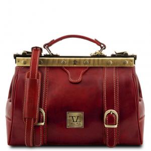 Tuscany Leather TL10034 Monalisa - Mallette infirmière rétro en cuir avec boucles Rouge