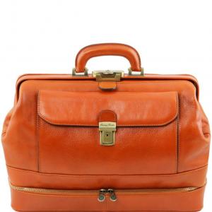 Tuscany Leather TL141297 Giotto - Elégante Mallette médecin en cuir à double fond Miel