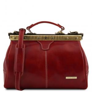 Tuscany Leather TL10038 Michelangelo - Mallette infirmière rétro en cuir Rouge