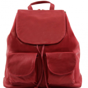 Tuscany Leather TL141507 Seoul - Sac à dos en cuir Grand modèle Rouge
