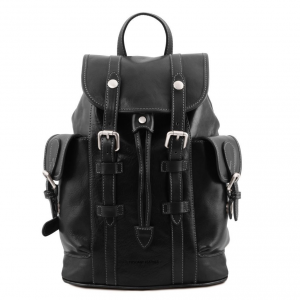 Tuscany Leather TL141661 Nara - Leather Backpack with side pockets Black