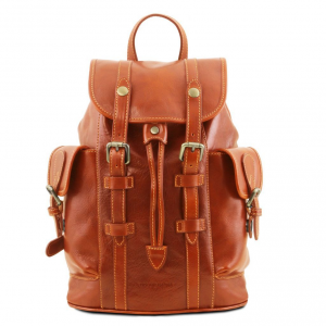 Tuscany Leather TL141661 Nara - Leather Backpack with side pockets Honey