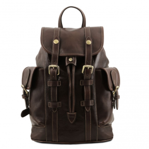 Tuscany Leather TL141661 Nara - Leather Backpack with side pockets Dark Brown