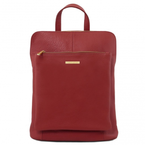 Tuscany Leather TL141682 TL Bag - Soft leather backpack for women Red