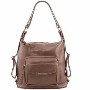 Tuscany Leather TL141535 TL Bag - Leather convertible bag Dark Taupe