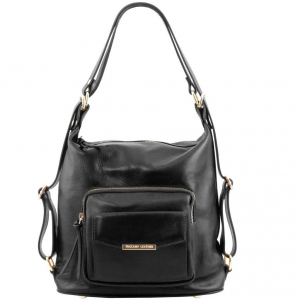 Tuscany Leather TL141535 TL Bag - Leather convertible bag Black