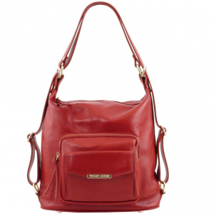 Tuscany Leather TL141535 TL Bag - Leather convertible bag Red