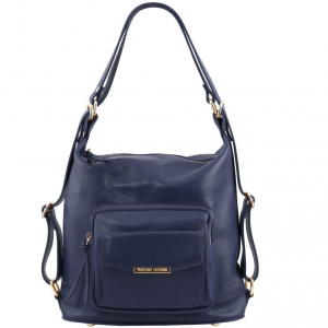 Tuscany Leather TL141535 TL Bag - Leather convertible bag Dark Blue