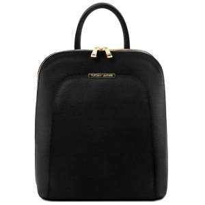 Tuscany Leather TL141631 TL Bag - Saffiano leather backpack for women Black
