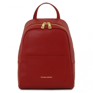 Tuscany Leather TL141701 TL Bag - Small Saffiano leather backpack for woman Red