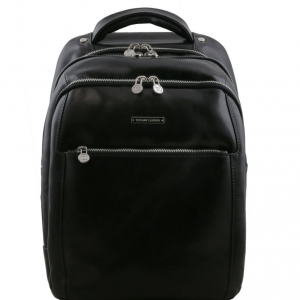 Tuscany Leather TL141402 Phuket - 3 Compartments leather laptop backpack Black