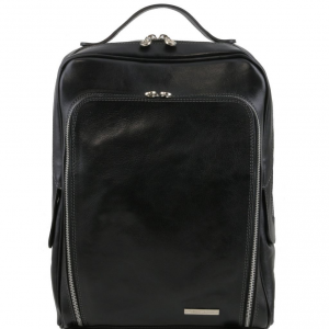 Tuscany Leather TL141289 Bangkok - Leather laptop backpack Black
