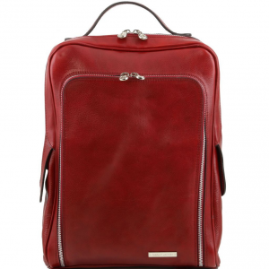 Tuscany Leather TL141289 Bangkok - Leather laptop backpack Red