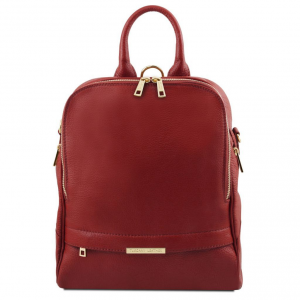 Tuscany Leather TL141376 TL Bag - Soft leather backpack for women Red