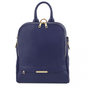 Tuscany Leather TL141376 TL Bag - Soft leather backpack for women Dark Blue