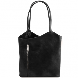 Tuscany Leather TL141497 Patty - Leather convertible bag Black