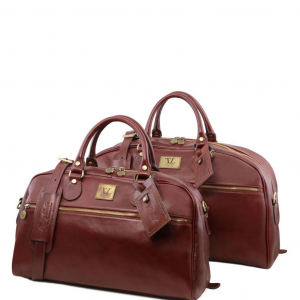 Tuscany Leather TL141258 Magellan - Ensemble de voyage en cuir Marron