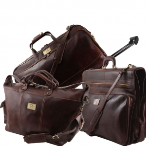 Tuscany Leather TL141078 Luxurious - Ensemble de voyage Marron foncé