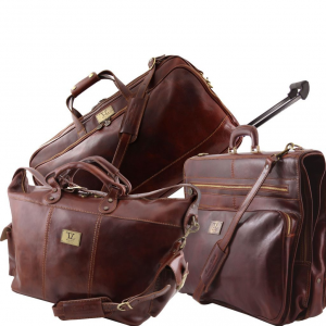 Tuscany Leather TL141078 Luxurious - Ensemble de voyage Marron