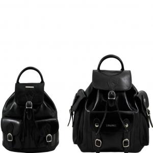 Tuscany Leather TL90173 Trekker - Travel set Leather backpacks Black