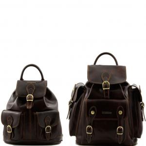 Tuscany Leather TL90173 Trekker - Travel set Leather backpacks Dark Brown