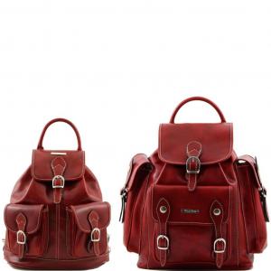Tuscany Leather TL90173 Trekker - Travel set Leather backpacks Red