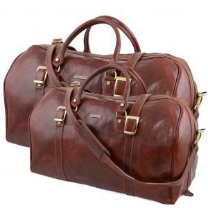 Tuscany Leather TL10175 Berlin - Ensemble de voyage en cuir Marron