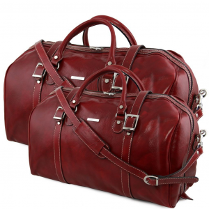 Tuscany Leather TL10175 Berlin - Ensemble de voyage en cuir Rouge