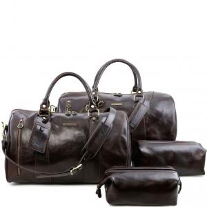 Tuscany Leather TL141256 Columbus - Leather travel set Dark Brown